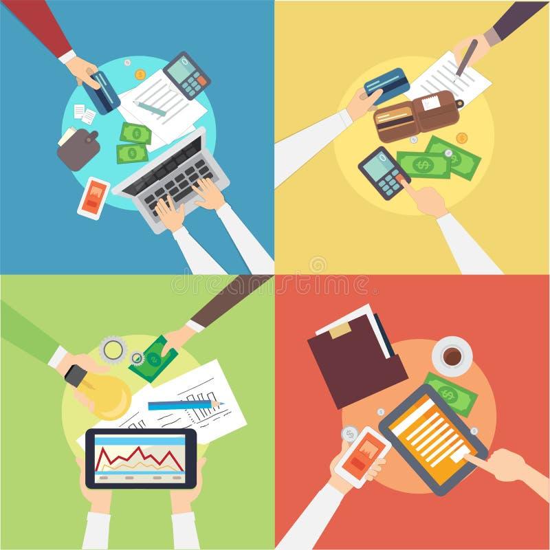 Επίπεδο σχέδιο των τραπεζικών εννοιών Υπερυψωμένη διανυσματική απεικόνιση τραπεζικής διαδικασίας διανυσματική απεικόνιση