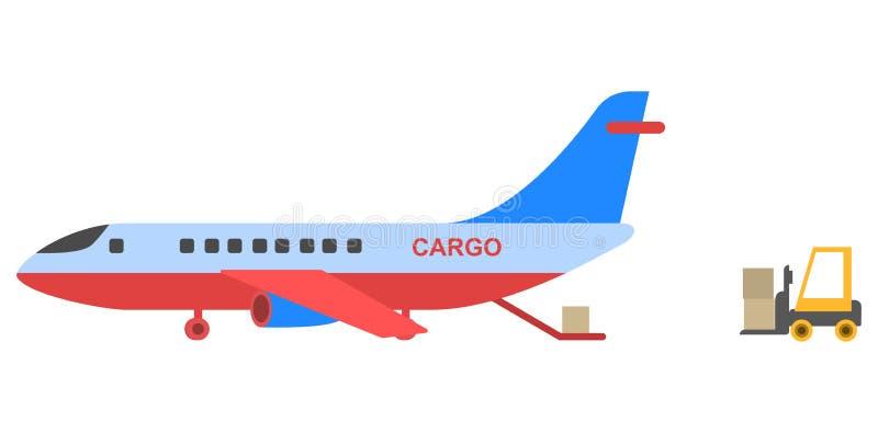 Επίπεδο σχέδιο ύφους αεροπλάνων φορτίου διανυσματική απεικόνιση