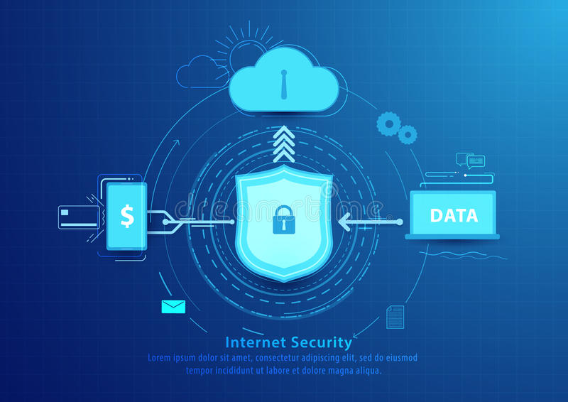 Επίπεδο σχέδιο ύφους γραμμών ασφάλειας Διαδικτύου απομονωμένο έννοια λευκό τεχνολογίας ελεύθερη απεικόνιση δικαιώματος