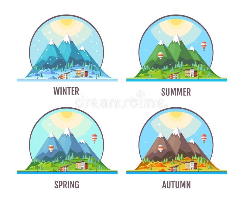 Επίπεδο σχέδιο ύφους του τοπίου βουνών επαρχίας εποχές διανυσματική απεικόνιση