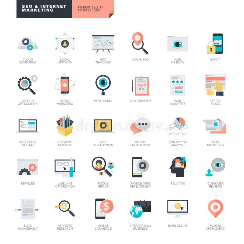 Επίπεδο σχέδιο SEO και εικονίδια μάρκετινγκ Διαδικτύου για τους γραφικούς και σχεδιαστές Ιστού ελεύθερη απεικόνιση δικαιώματος