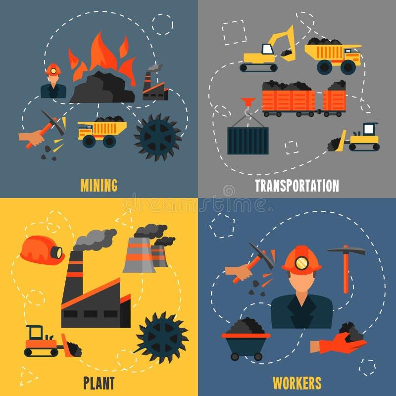 Επίπεδο σύνολο βιομηχανίας άνθρακα ελεύθερη απεικόνιση δικαιώματος