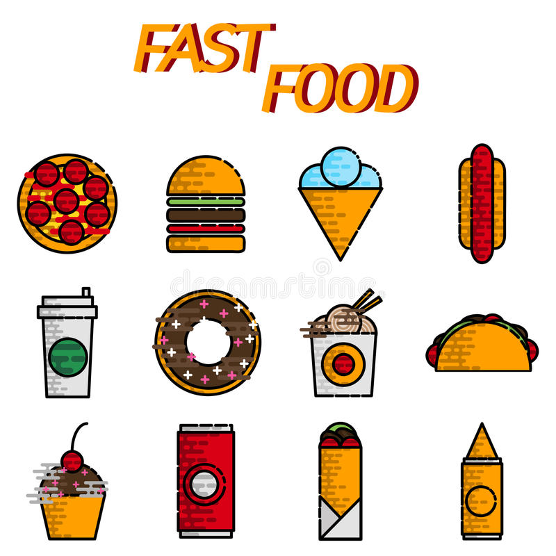 Επίπεδο σύνολο εικονιδίων γρήγορου φαγητού διανυσματική απεικόνιση