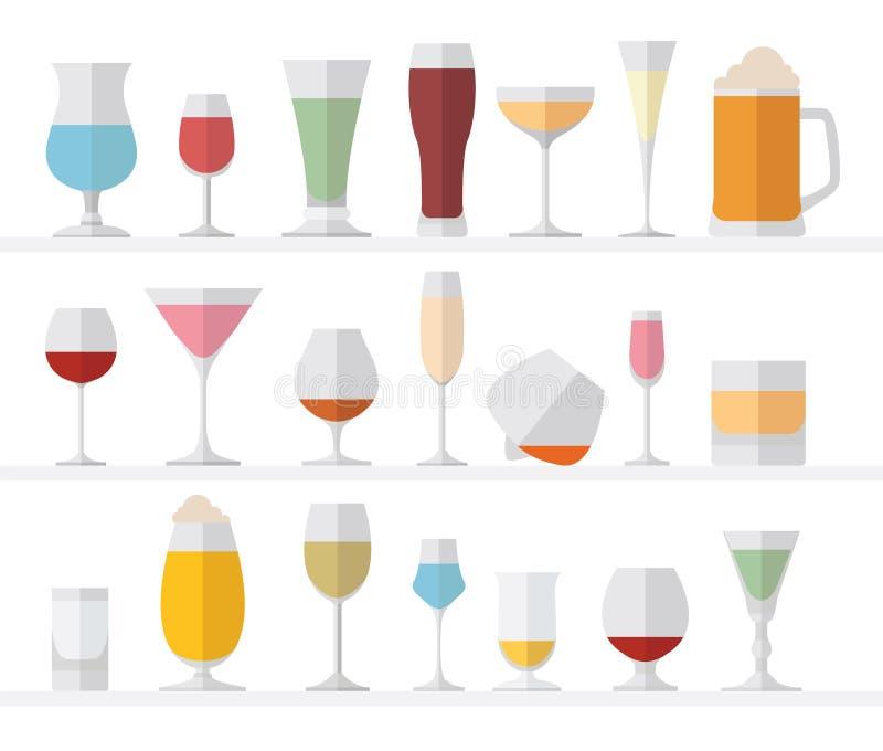 Επίπεδο σύνολο εικονιδίων γυαλιών οινοπνεύματος Διαφορετικά ποτά οινοπνεύματος διανυσματική απεικόνιση
