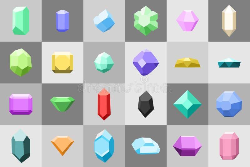 Επίπεδο σύνολο εικονιδίων Διαμάντι πολύτιμοι λίθοι, και πέτρες σε πολλές παραλλαγές απεικόνιση αποθεμάτων
