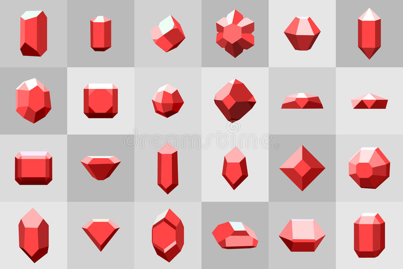 Επίπεδο σύνολο εικονιδίων Διαμάντι πολύτιμοι λίθοι, και πέτρες σε πολλές παραλλαγές διανυσματική απεικόνιση