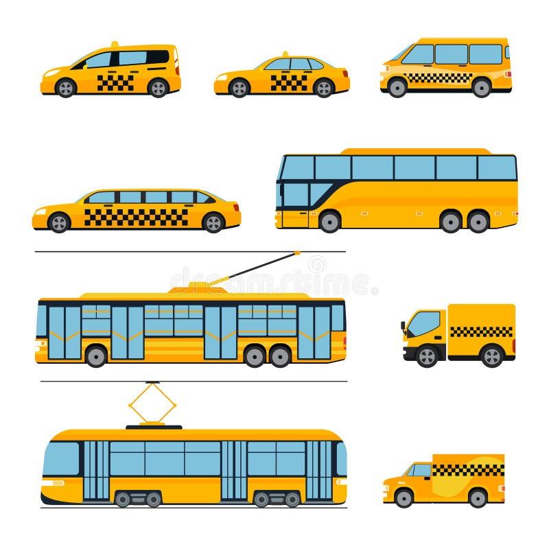 Επίπεδο σύνολο εικονιδίων δημόσιων συγκοινωνιών πόλεων Αστικός διανυσματική απεικόνιση