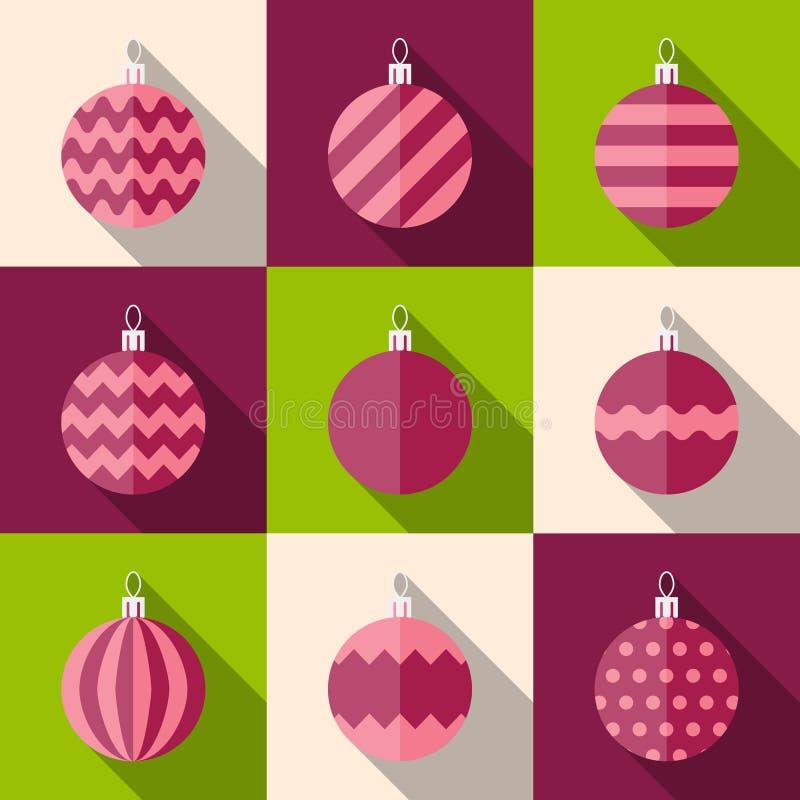 Επίπεδο σύνολο εικονιδίων διακοσμήσεων Χριστουγέννων διανυσματική απεικόνιση