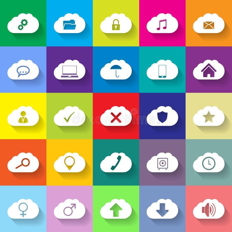 Επίπεδο σύνολο εικονιδίων δικτύωσης σύννεφων 25 διανυσματική απεικόνιση