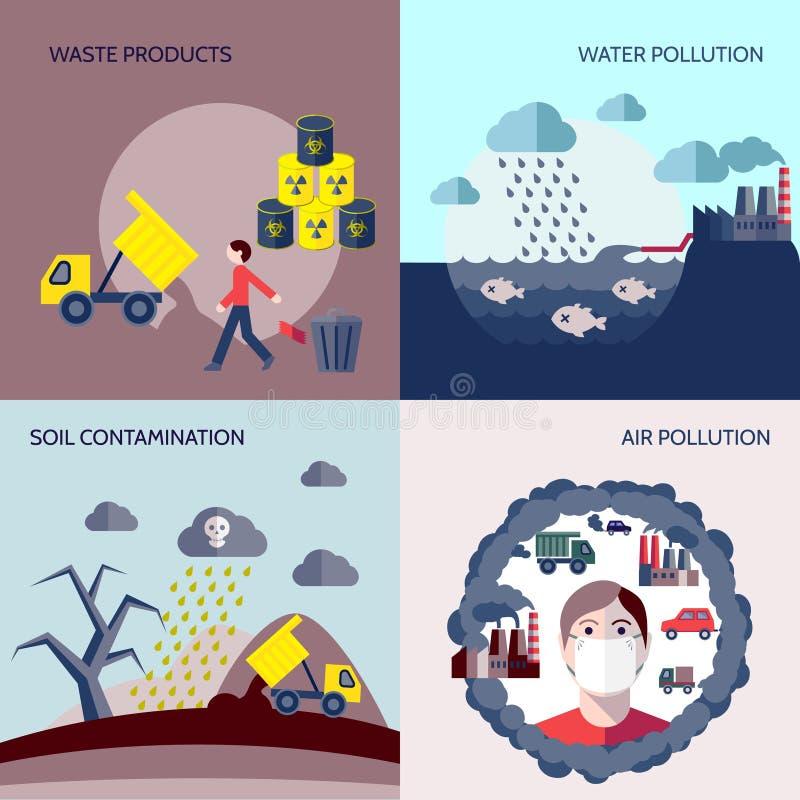 Επίπεδο σύνολο εικονιδίων ρύπανσης διανυσματική απεικόνιση