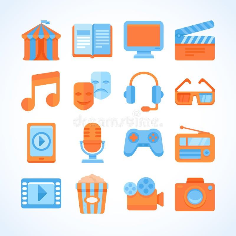 Επίπεδο σύνολο εικονιδίων συμβόλων ψυχαγωγίας διανυσματική απεικόνιση