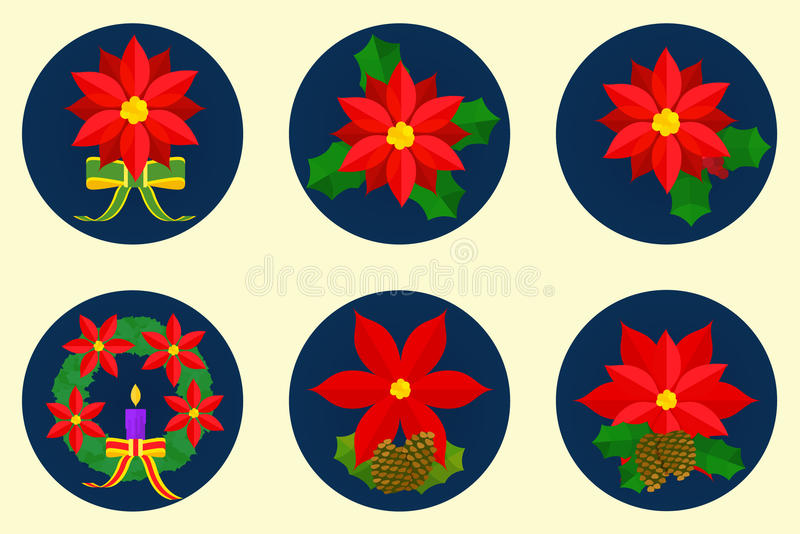 Επίπεδο σύνολο εικονιδίων, σχέδιο λουλουδιών poinsettia στοκ φωτογραφίες