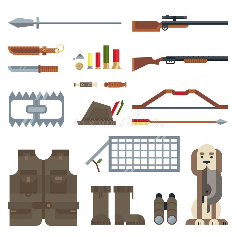 Επίπεδο σύνολο εικονιδίων σύγχρονου σχεδίου διανυσματικό εργαλείων και εξοπλισμού κυνηγιού απεικόνιση αποθεμάτων