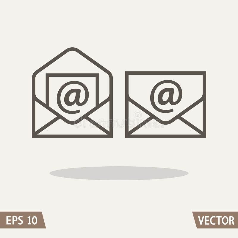 Επίπεδο σύνολο εικονιδίων ταχυδρομείου, φάκελος και σύμβολο ηλεκτρονικού ταχυδρομείου ελεύθερη απεικόνιση δικαιώματος