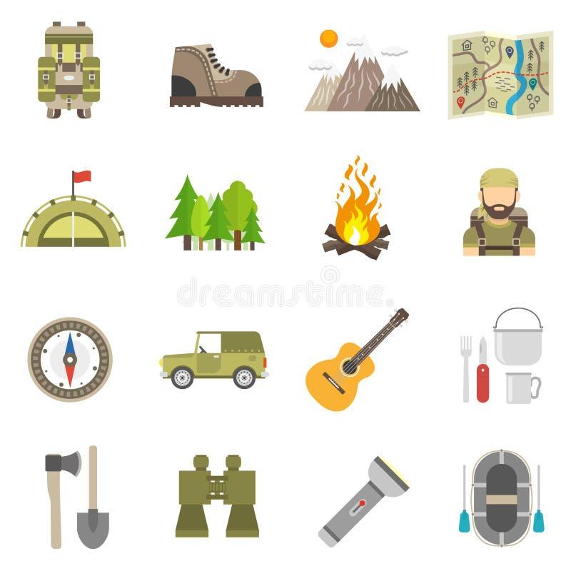 Επίπεδο σύνολο εικονιδίων τουρισμού διανυσματική απεικόνιση