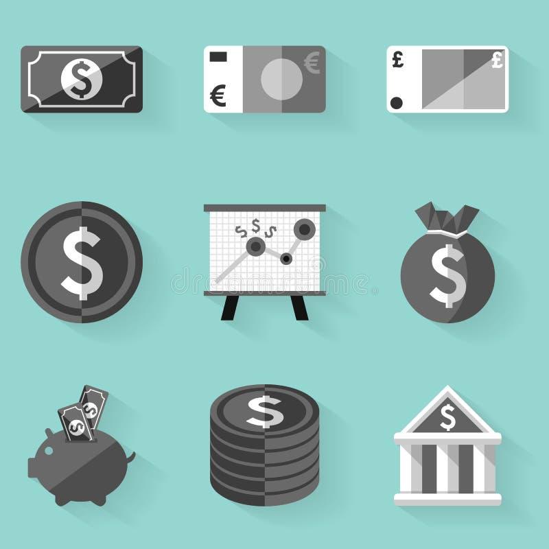 Επίπεδο σύνολο εικονιδίων Χρήματα λευκό ύφους ελεύθερη απεικόνιση δικαιώματος