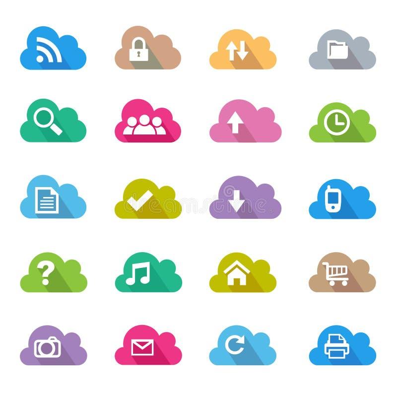 Επίπεδο σύνολο εικονιδίων χρώματος σύννεφων ελεύθερη απεικόνιση δικαιώματος
