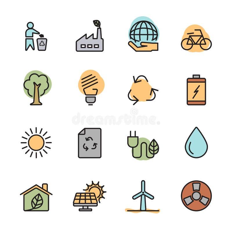Επίπεδο σύνολο ενεργειακών εικονιδίων οικολογίας χρώματος, διανυσματικό eps10 απεικόνιση αποθεμάτων