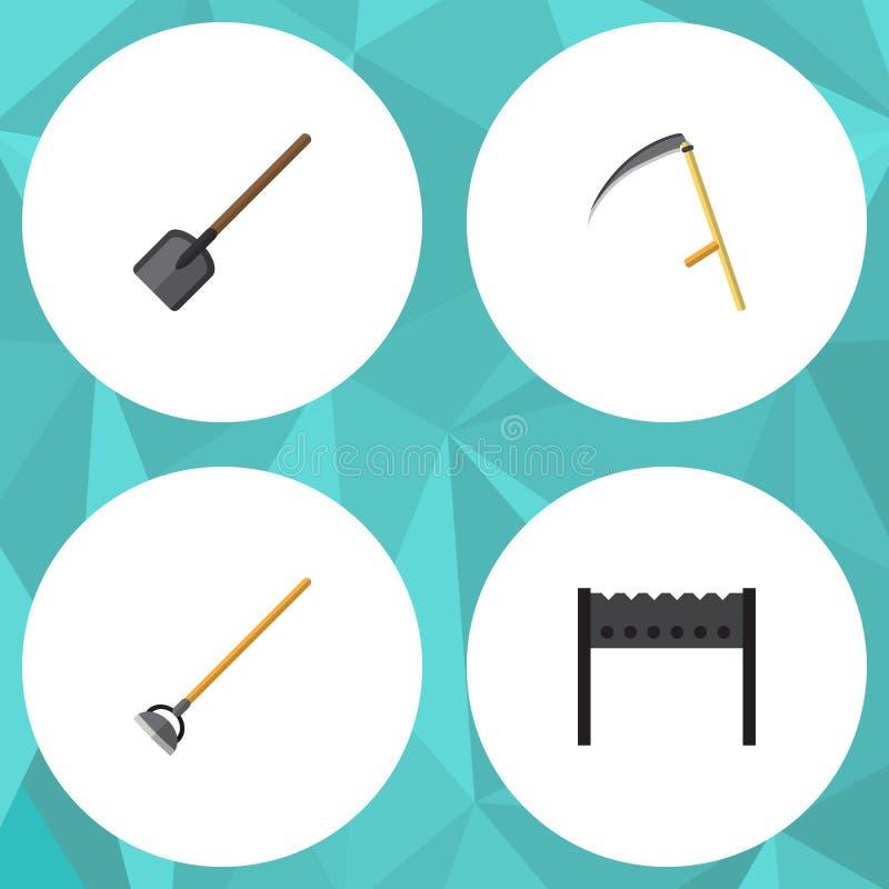 Επίπεδο σύνολο κήπων εικονιδίων σχάρας, εργαλείου, φτυαριού και άλλων διανυσματικών αντικειμένων Επίσης περιλαμβάνει το φτυάρι, κ διανυσματική απεικόνιση