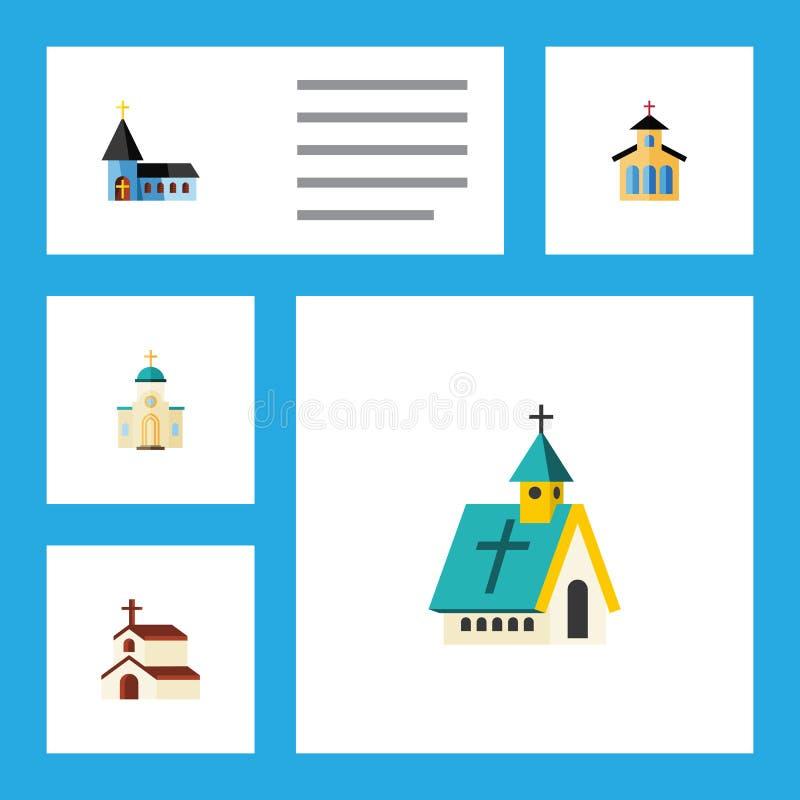 Επίπεδο σύνολο κτηρίου εικονιδίων χριστιανικών, θρησκευτικών και άλλων διανυσματικών αντικειμένων αρχιτεκτονικής, Επίσης περιλαμβ απεικόνιση αποθεμάτων