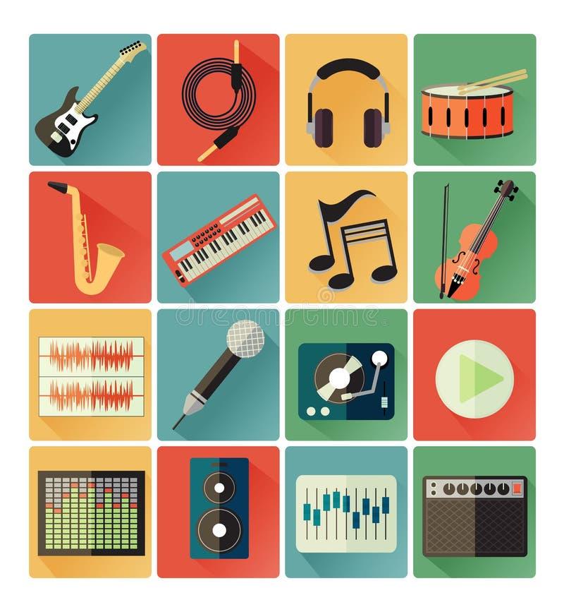 Επίπεδο σύνολο μουσικής εικονιδίων ελεύθερη απεικόνιση δικαιώματος