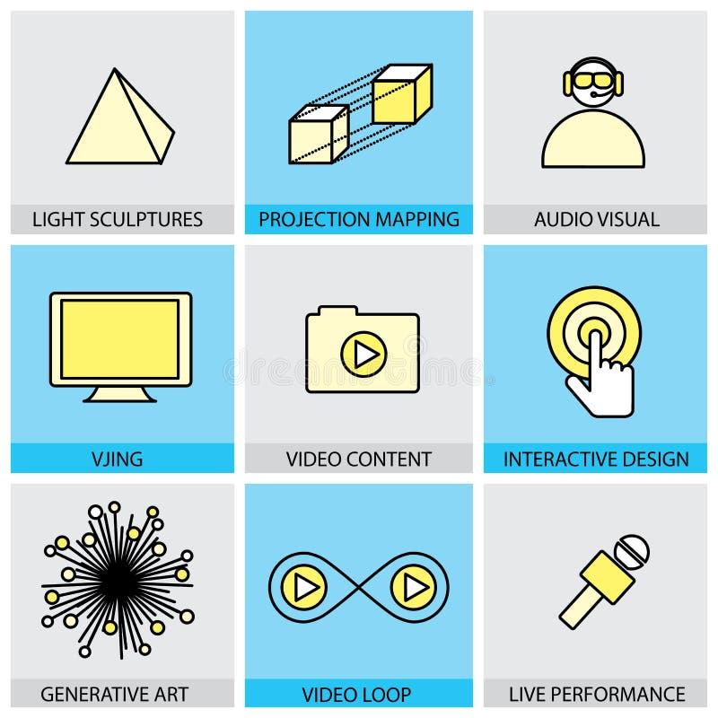 Επίπεδο σύνολο σχεδίου διανυσματικών εικονιδίων γραμμών της εικονικής πραγματικότητας ζωντανών απεικόνιση αποθεμάτων