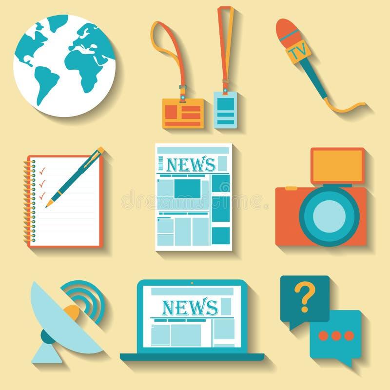 Επίπεδο σύνολο σχεδίου διανυσματικών εικονιδίων δημοσιογραφίας διανυσματική απεικόνιση