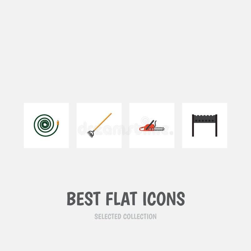 Επίπεδο σύνολο Dacha εικονιδίων εργαλείου, σχάρας, Hacksaw και άλλων διανυσματικών αντικειμένων Επίσης περιλαμβάνει τον ορειχαλκο ελεύθερη απεικόνιση δικαιώματος