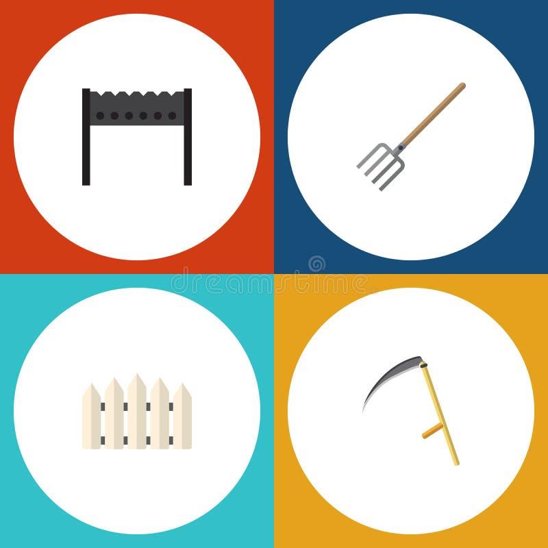 Επίπεδο σύνολο Dacha εικονιδίων σχάρας, ξύλινου εμποδίου, δικράνου σανού και άλλων διανυσματικών αντικειμένων Επίσης περιλαμβάνει ελεύθερη απεικόνιση δικαιώματος