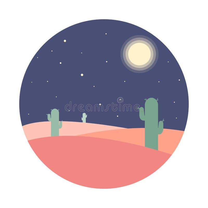 Επίπεδο τοπίο ερήμων νύχτας κινούμενων σχεδίων με τη σκιαγραφία κάκτων στον κύκλο ελεύθερη απεικόνιση δικαιώματος