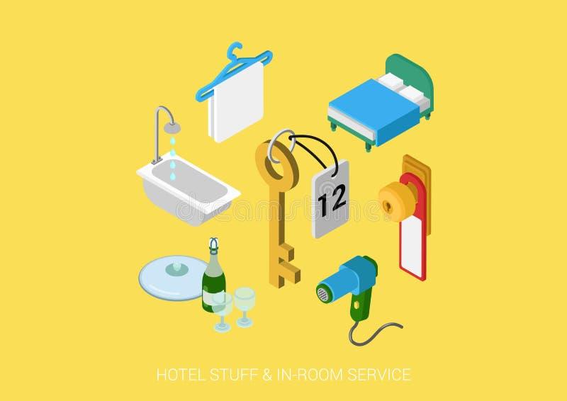 Επίπεδο τρισδιάστατο isometric διανυσματικό ξενοδοχείο Ιστού όλη η συμπεριλαμβάνουσα υπηρεσία δωματίων ελεύθερη απεικόνιση δικαιώματος