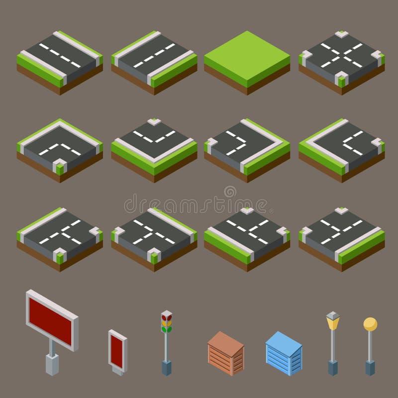 Επίπεδο τρισδιάστατο isometric οδών παιχνιδιών κεραμιδιών σύνολο έννοιας εικονιδίων infographic Στοιχεία χαρτών πόλεων διανυσματική απεικόνιση
