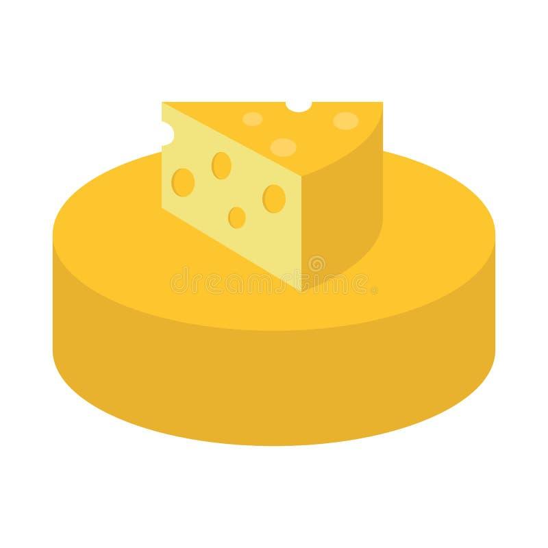 Επίπεδο τυρί εικονιδίων διανυσματική απεικόνιση
