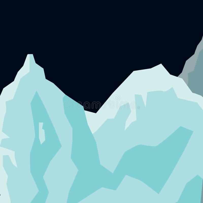 Επίπεδο υπόβαθρο παγετώνων τοπίων βουνών διανυσματική απεικόνιση