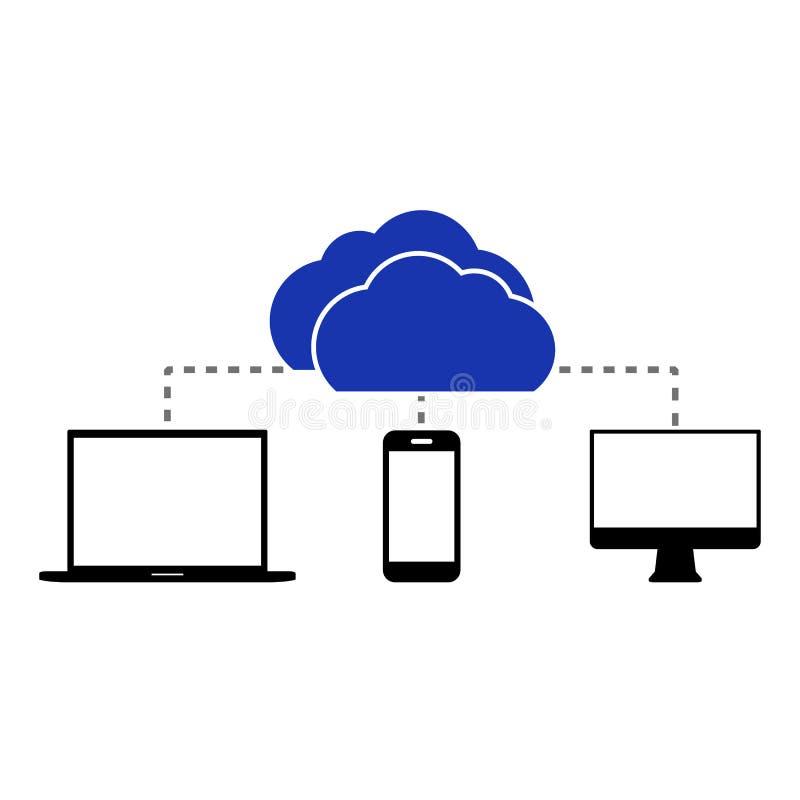 Επίπεδο υπόβαθρο υπολογισμού σύννεφων Τεχνολογία δικτύων αποθήκευσης στοιχείων ελεύθερη απεικόνιση δικαιώματος
