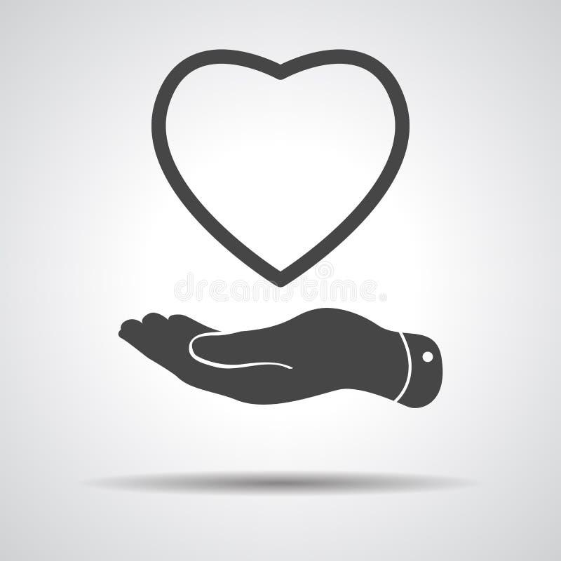 Επίπεδο χέρι που παρουσιάζει εικονίδιο καρδιών διανυσματική απεικόνιση