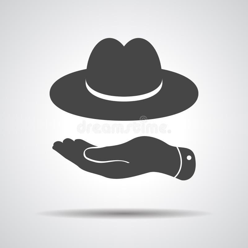 Επίπεδο χέρι που παρουσιάζει εικονίδιο μαύρων καπέλων διανυσματική απεικόνιση