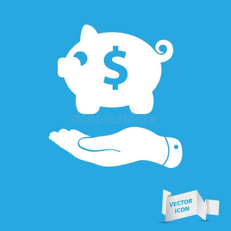 Επίπεδο χέρι που παρουσιάζει μαύρο piggy εικονίδιο τραπεζών διανυσματική απεικόνιση