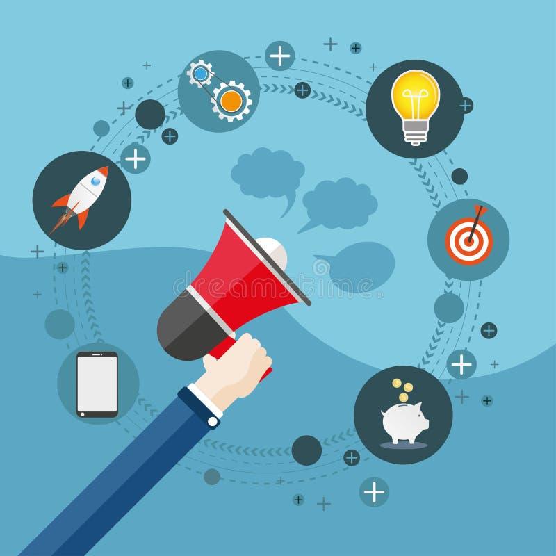Επίπεδο ψηφιακό μάρκετινγκ Bullhorn χεριών ελεύθερη απεικόνιση δικαιώματος