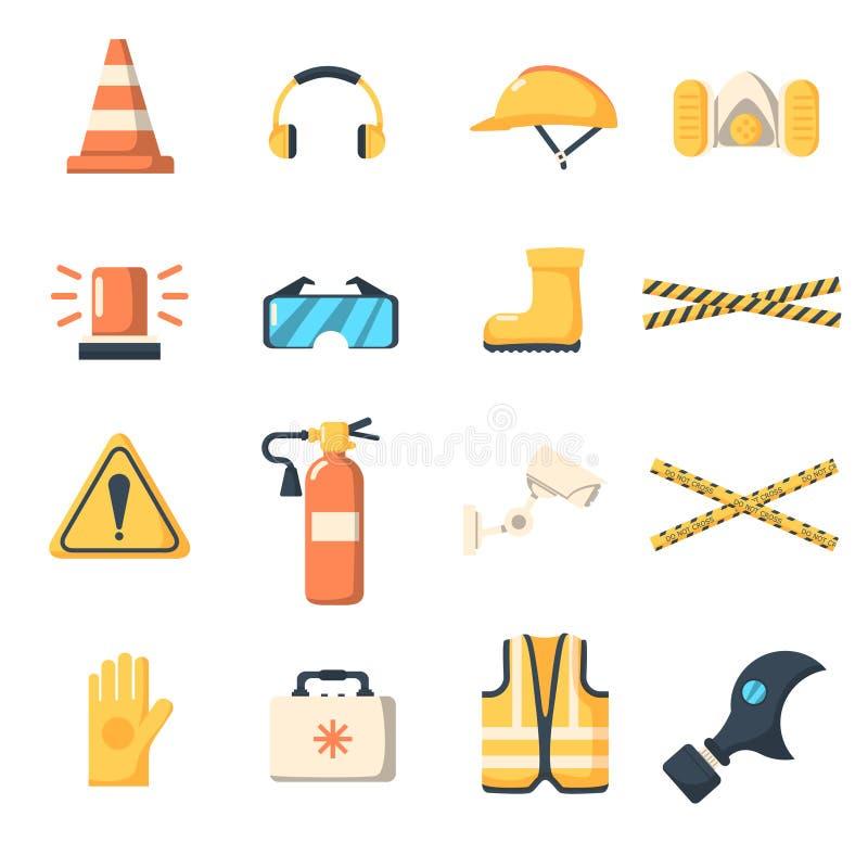 Επίπεδο ύφος εικονιδίων εργασίας ασφάλειας απεικόνιση αποθεμάτων