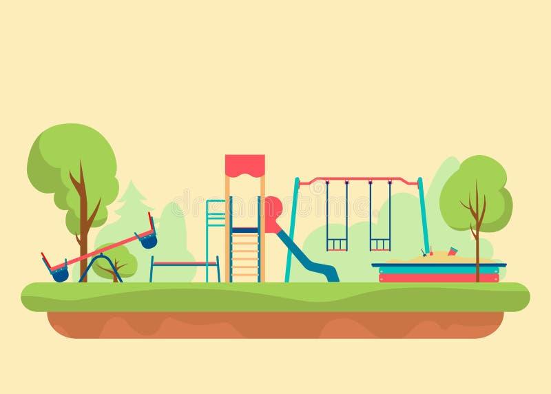 Επίπεδο ύφος παιδικών χαρών παιδιών Σύνολο στοιχείων σχεδίου για να δημιουργήσει το αστικό υπόβαθρο οικοδόμων, διανυσματική απεικ ελεύθερη απεικόνιση δικαιώματος