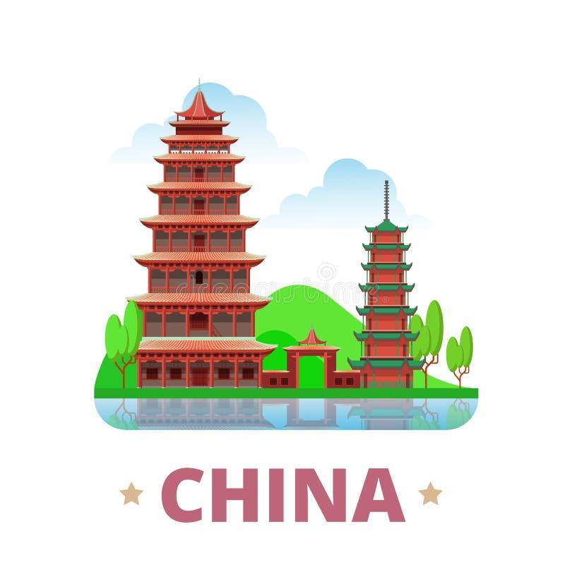 Επίπεδο ύφος W κινούμενων σχεδίων προτύπων σχεδίου χωρών της Κίνας διανυσματική απεικόνιση