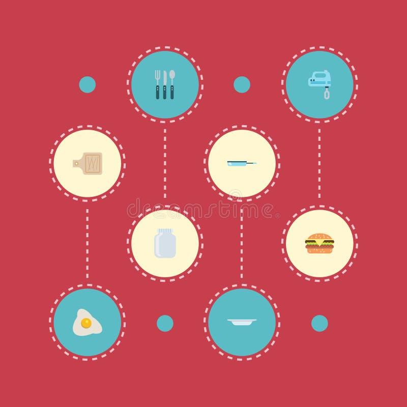 Επίπεδο Breadboard εικονιδίων, ομελέτα, Skillet και άλλα διανυσματικά στοιχεία Το σύνολο επίπεδων συμβόλων εικονιδίων τροφίμων πε ελεύθερη απεικόνιση δικαιώματος