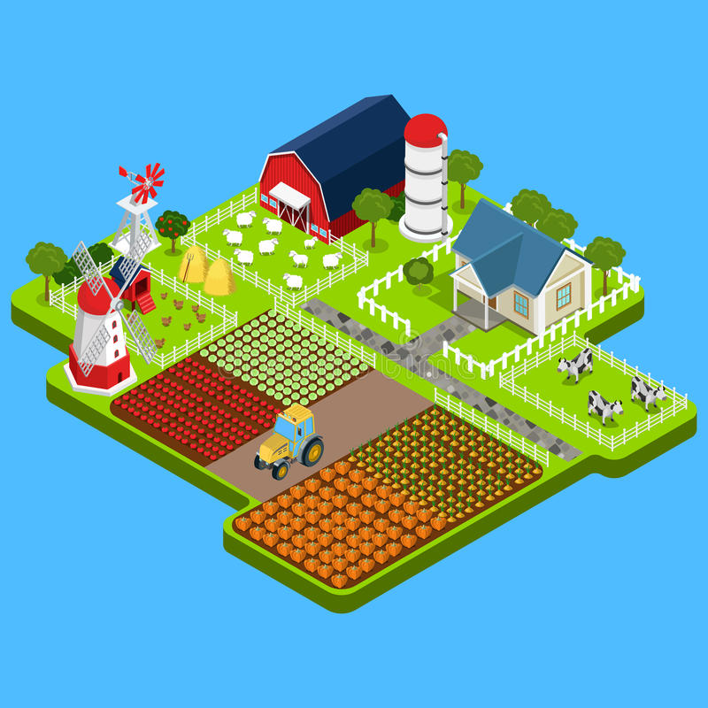 Επίπεδο isometric αγροτικό προϊόν, οικοδόμηση infographic διανυσματική απεικόνιση