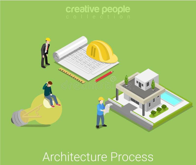 Επίπεδο isometric διάνυσμα σπιτιών ιδέας κατασκευής σχεδίων αρχιτεκτονικής ελεύθερη απεικόνιση δικαιώματος