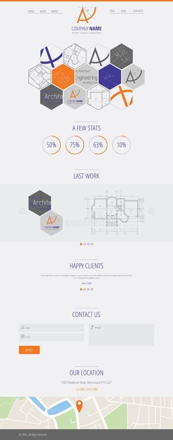 Επίπεδο UI σχεδιάζει προσγειωμένος ιστοσελίδας κατασκευής αρχιτεκτονικής επιχείρησης Α απεικόνιση αποθεμάτων