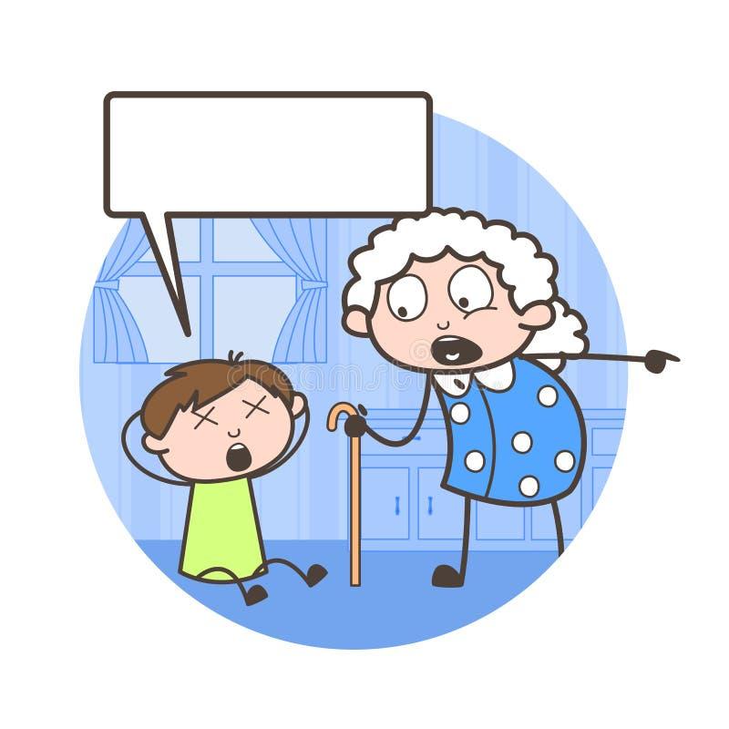 Επίπληξη γιαγιάδων κινούμενων σχεδίων στη διανυσματική απεικόνιση εγγονών της ελεύθερη απεικόνιση δικαιώματος
