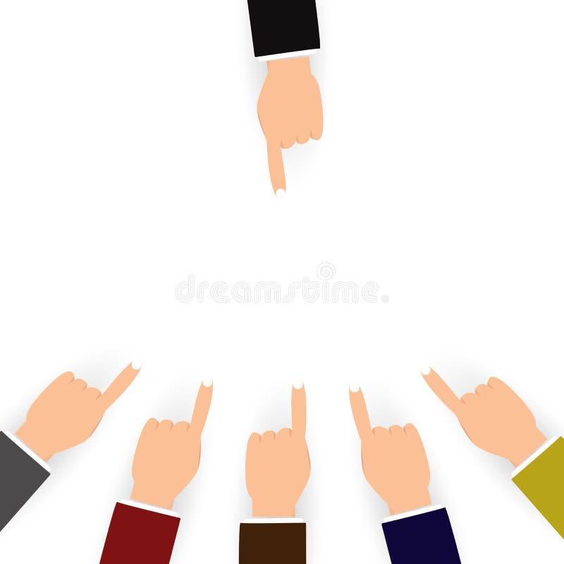 Επίπληξη και σύγχυση για άλλους έννοια ανθρώπων, υπόδειξη δάχτυλων ελεύθερη απεικόνιση δικαιώματος