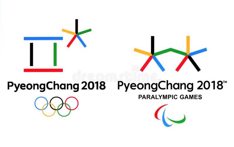Επίσημα λογότυπα των 2018 χειμερινών Ολυμπιακών Αγωνών σε PyeongChang ελεύθερη απεικόνιση δικαιώματος