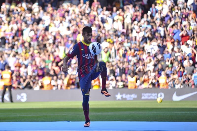 Επίσημη παρουσίαση Jr Neymar ως φορέα FC Βαρκελώνη στοκ εικόνα με δικαίωμα ελεύθερης χρήσης